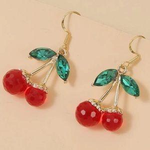 Last pair! NEW! RED cherry drop earrings